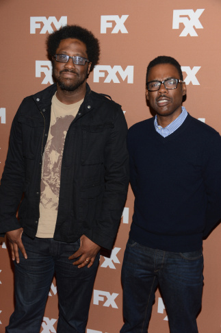NEW YORK, NY - MARCH 28:  W. Kamau Bell and Chris Rock attend the 2013 FX Upfront Bowling Event at Luxe at Lucky Strike Lanes on March 28, 2013 in New York City.  (Photo by Dimitrios Kambouris/Getty Images)