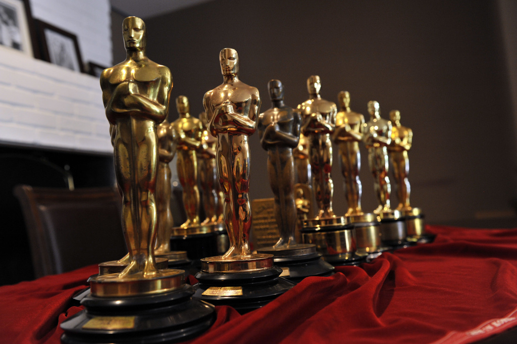 BRENTWOOD, CA - FEBRUARY 24: Nate Sanders displays the collection of Oscar statuettes that his auction company sold online to the highest bidder on February 24, 2012 in Brentwood, California. The first Oscars concert will take place Feb. 27, 2014.
