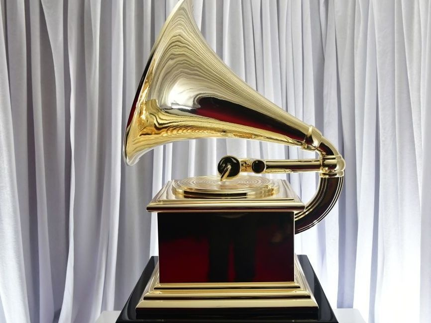 An oversized Grammy award on display backstage during the 62nd annual Grammy ceremony in January.
