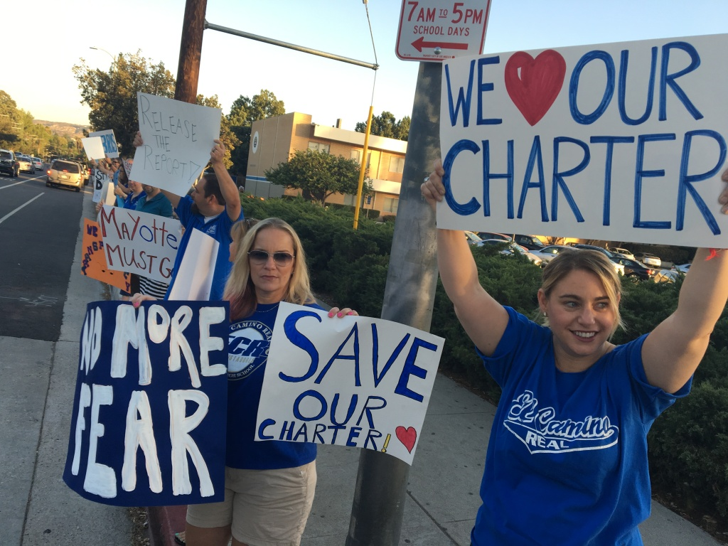 A group of around 50 teachers and parents from El Camino Real Charter High School in Woodland Hills held a protest on Wednesday, Sept. 28, 2016. Many called on the school's governing board to fire Dave Fehte, the principal of the charter school.