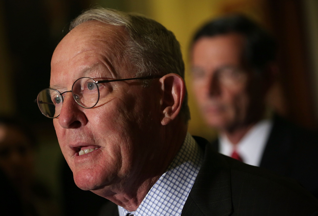 File: Sen. Lamar Alexander (R-TN) at a news briefing on July 8, 2015. The senator is the chief architect of new legislation rewriting the No Child Left Behind Act, along with Democratic Sen. Patty Murray of Washington.