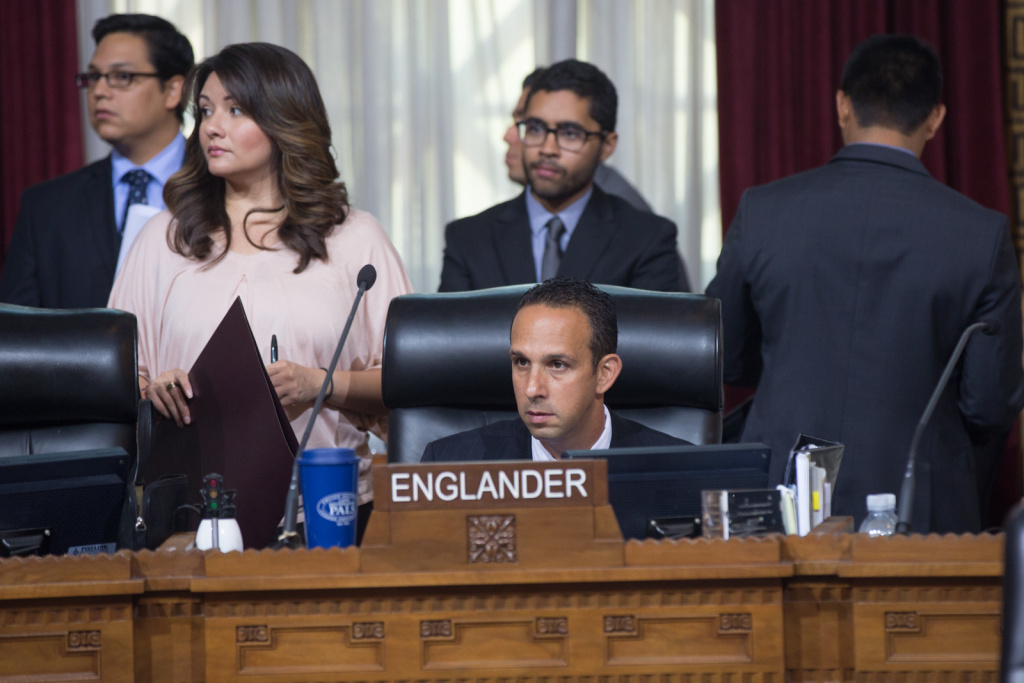 L.A. City Councilman Mitch Englander wants to cut pensions to city workers convicted of on-the-job crimes.
