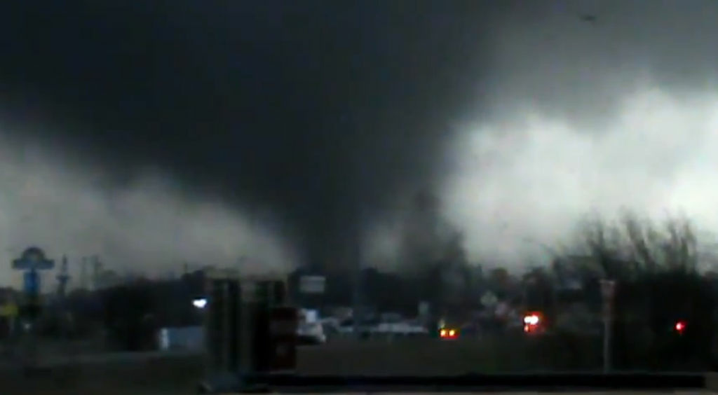 A screen shot of a video posted by Rynal Grant showing the tornado that struck Mississippi on Feb. 10, 2013.