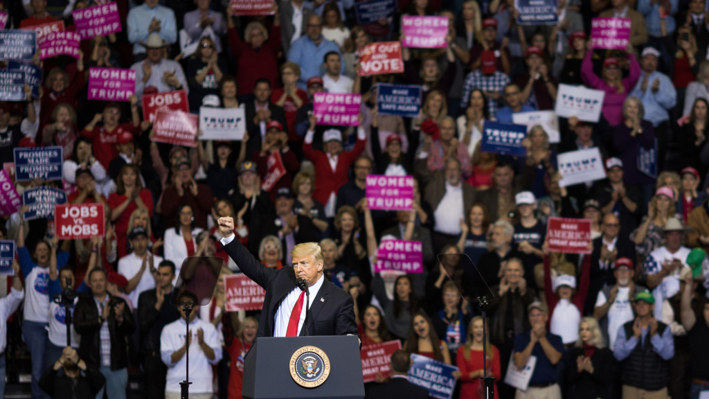 President Trump addresses the crowd during a rally in Houston in support of Texas Sen. Ted Cruz on Oct. 22,. During the rally, he described himself as a