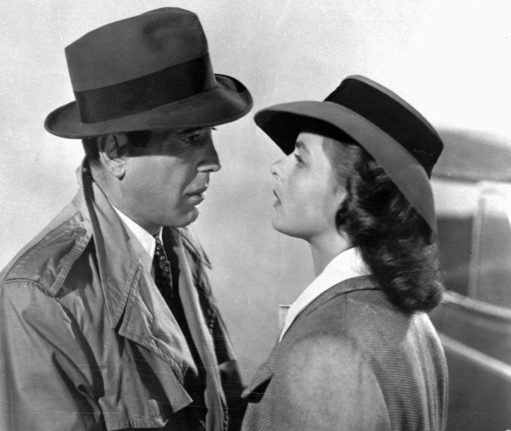 A studio publicity photo of actors Humphrey Bogart and Ingrid Bergman in a scene from the 1943 classic film