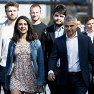 Newly-elected London mayor Sadiq Khan with his wife Saadiya, family and aides.