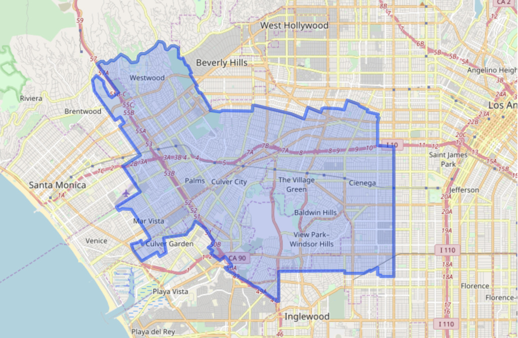 A map of the boundaries of California's State Assembly District 54.