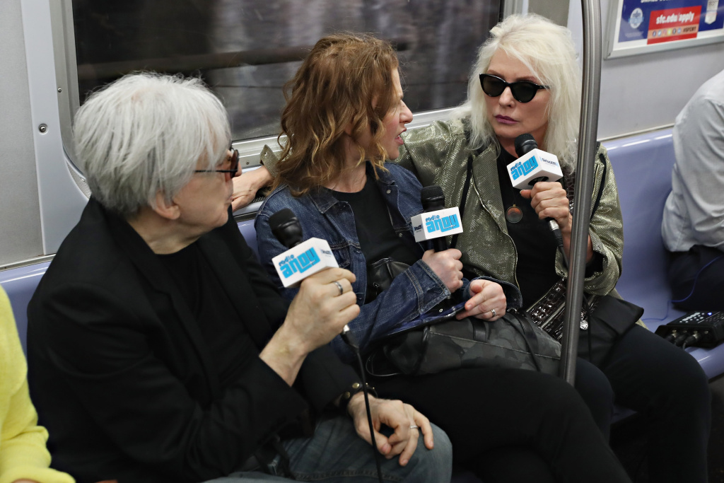 "Sandra Bernhard interviews Chris Stein and Debbie Harry of Blondie during ""Sandyland,"" her SiriusXM show on Andy Cohen's Radio Andy Channel from the New York City Subway M train."