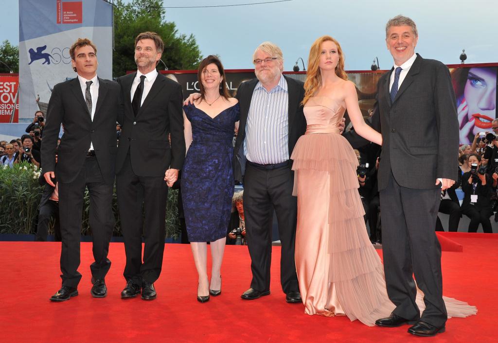 (L-R) Actor Joaquin Phoenix, director Paul Thomas Anderson, producer JoAnne Sellar, actor Philip Seymour Hoffman, actress Madisen Beaty and producer Daniel Lupi attend