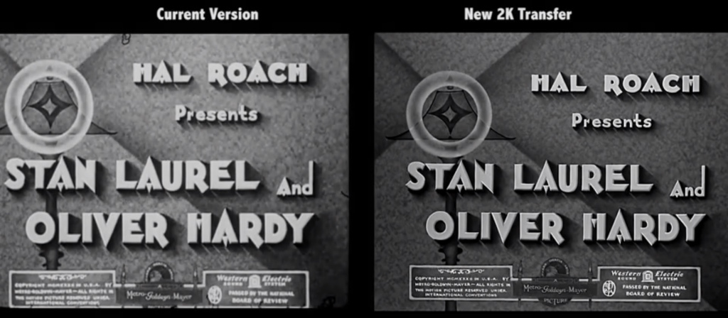 Screen grab from side-by-side comparison of restoration of