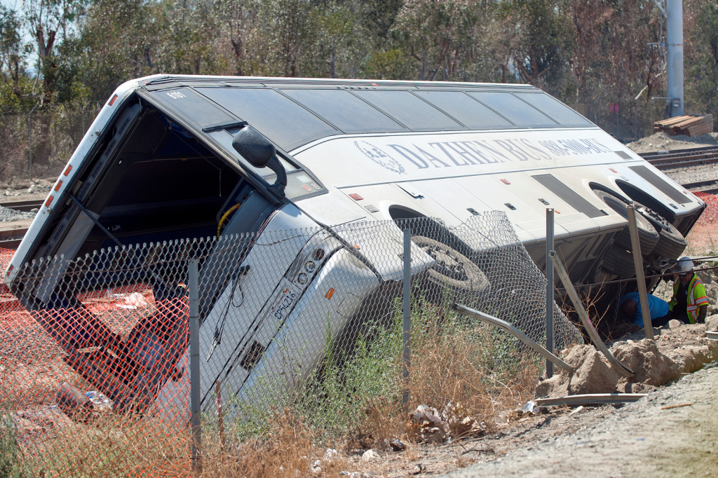 In August, 52 people were hurt when a bus heading to a desert casino sideswiped a car and overturned along a freeway east of Los Angeles.