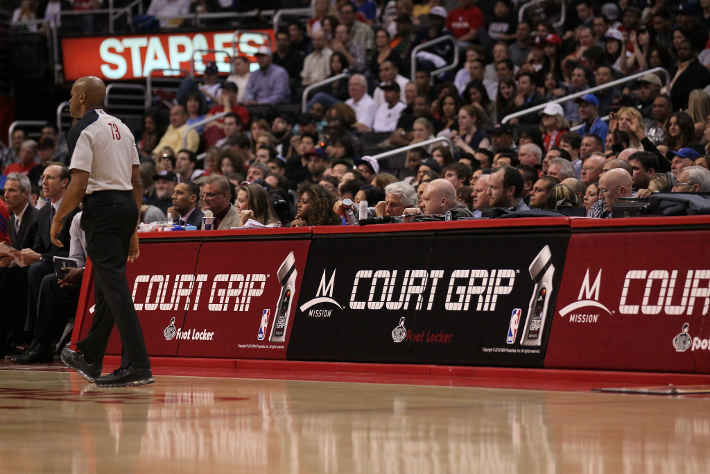 Mission Court Grip signage during the game between the Houston Rockets and the Los Angeles Clippers at Staples Center on January 4, 2012 in Los Angeles, California.