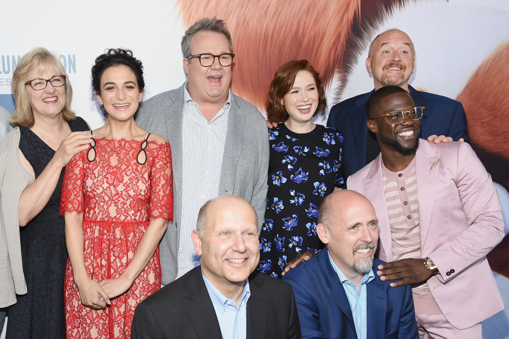 (Top L-R) Producer Janet Healy, Actors Jenny Slate, Eric Stonestreet , Ellie Kemper, Louis C.K., Kevin Hart (bottom L-R) Producers Chris Meledandri, and Director Chris Renaud pose for a picture at