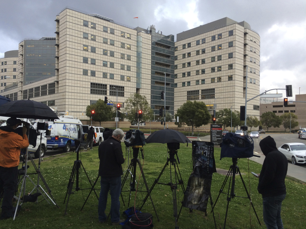 A large gathering of media personnel camp outside the Ronald Reagan UCLA Medical Center in Los Angeles on Dec. 23, 2016, where TMZ and the Los Angeles Times reported actress Carrie Fisher had been taken after suffering a medical emergency on a flight from London to Los Angeles.