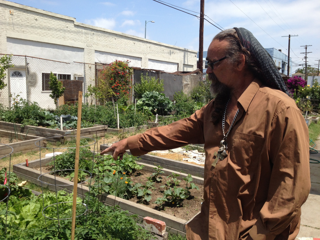 Community gardens and small urban farms like this could become more common under an incentive offered by local governments. Here, Makadu Labeet is in Vermont Square Community Garden, for which he's the