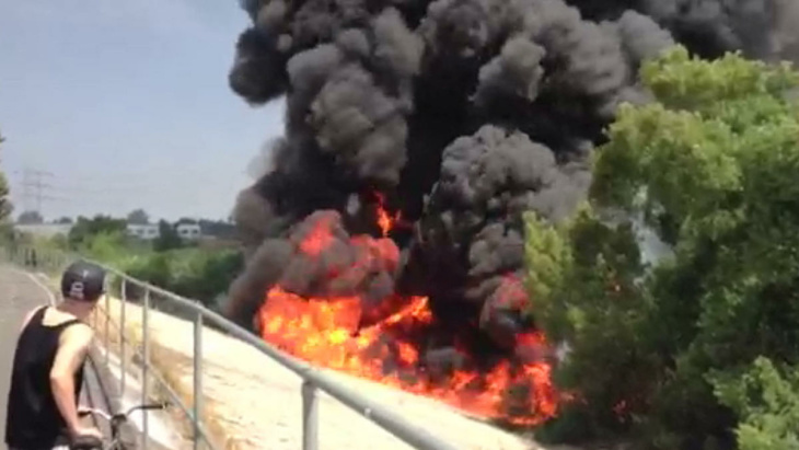 The tunnel where a tanker caught fire Saturday, July 13, 2013.