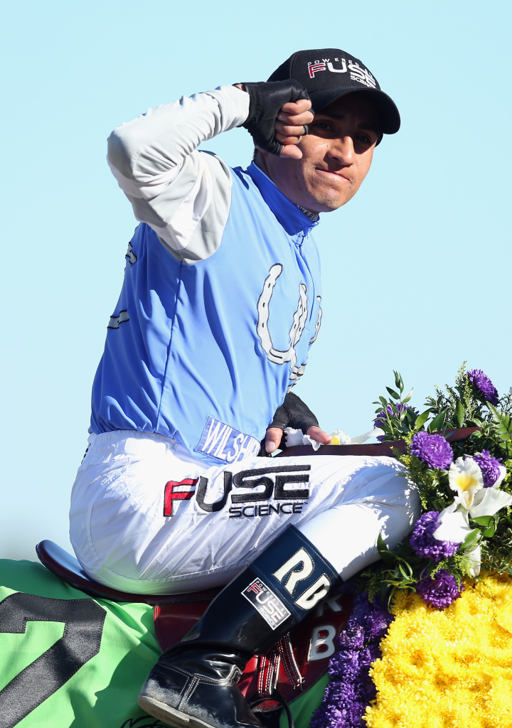 Rafael Bejarano celebrates atop Goldencents after winning the Dirt Mile during the 2013 Breeders' Cup World Championships at Santa Anita Park on Nov. 1, 2013 in Arcadia.