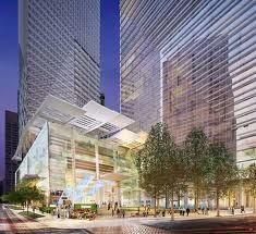 A rendering of the new Wilshire Grand hotel, which will include massive digital billboards on its sides.