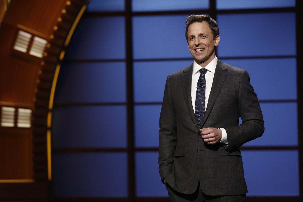 This Feb. 24, 2014 image released by NBC shows host Seth Meyers during the premiere of his new late night talk show,