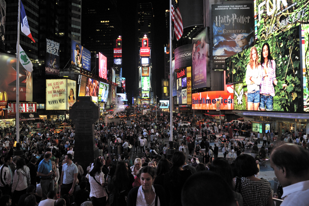 A view of Times Square is seen at night on June 4, 2011 in New York.