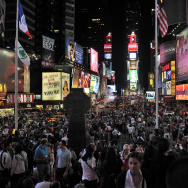 A view of Times Square is seen at night