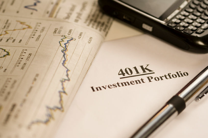 A close up of a 401k investment portfolio.