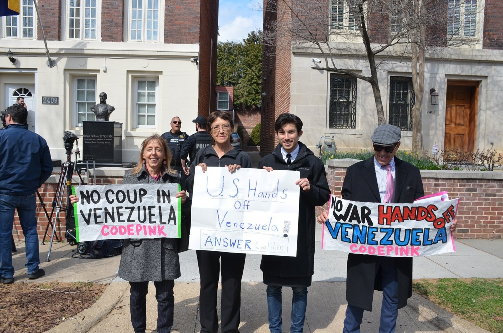 Gloria La Riva, second to the left, holds a