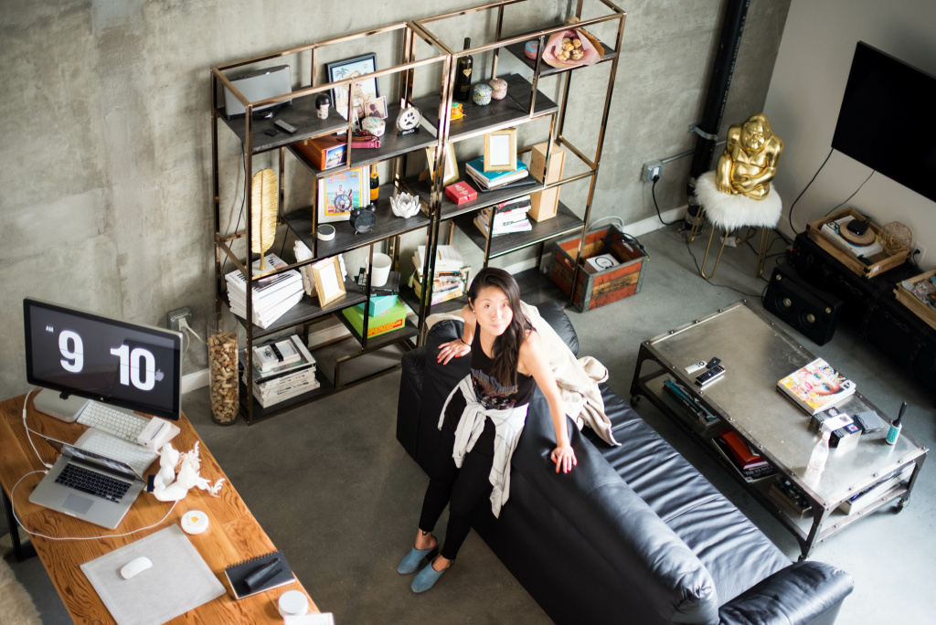Fashion blogger Nina Hu rents this one-bedroom loft with her husband in downtown L.A.