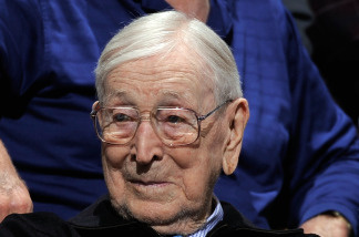 Former coach John Wooden of the UCLA Bruins watches as the Bruins take on the University of California Golden Bears at Pauley Pavilion January 29, 2009 in Westwood, California. UCLA won, 81-66.
