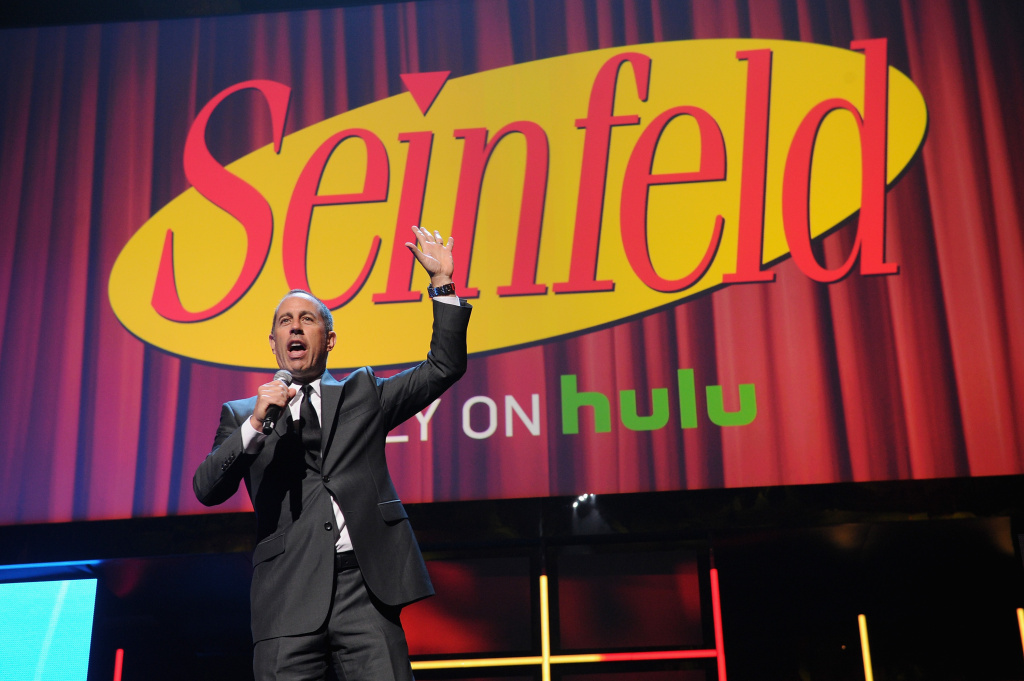 Jerry Seinfeld speaks onstage at the 2015 Hulu Upfront Presentation at Hammerstein Ballroom on April 29, 2015 in New York City.
