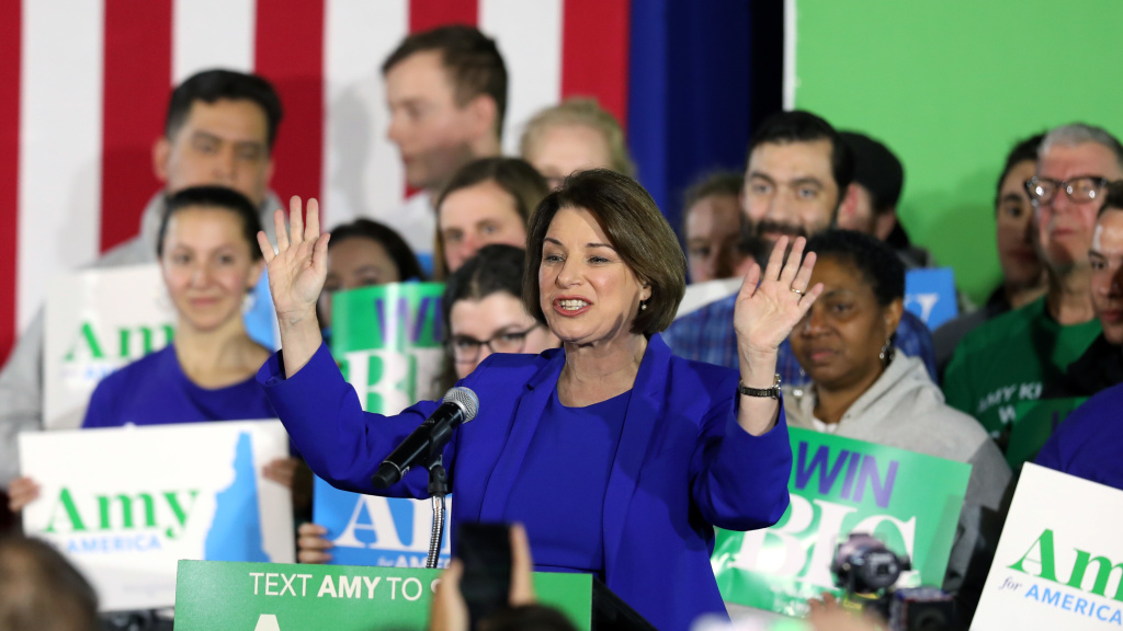 Democratic presidential candidate Sen. Amy Klobuchar, D-MN, speaks on stage during a primary night event in Concord, New Hampshire on Tuesday celebrating her unexpected third place finish in the state's primary.