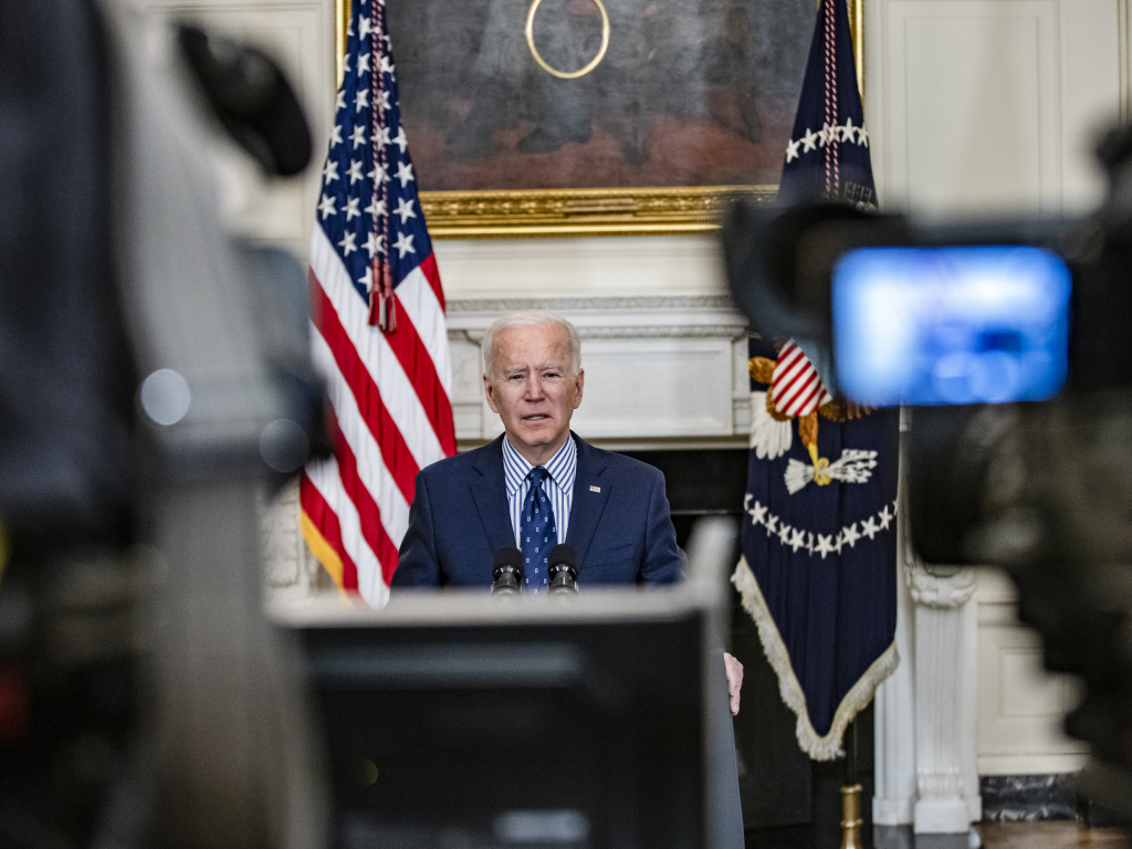President Biden speaks from the State Dining Room of the White House on Saturday, following the Senate's passage of his COVID-19 relief package by a 50-49 vote.