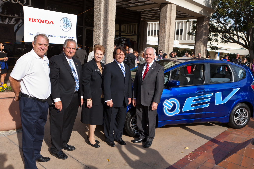 Honda delivers a 2013 Fit EV to the city of Torrance as a part of the Honda Electric Vehicle Demonstration Program.