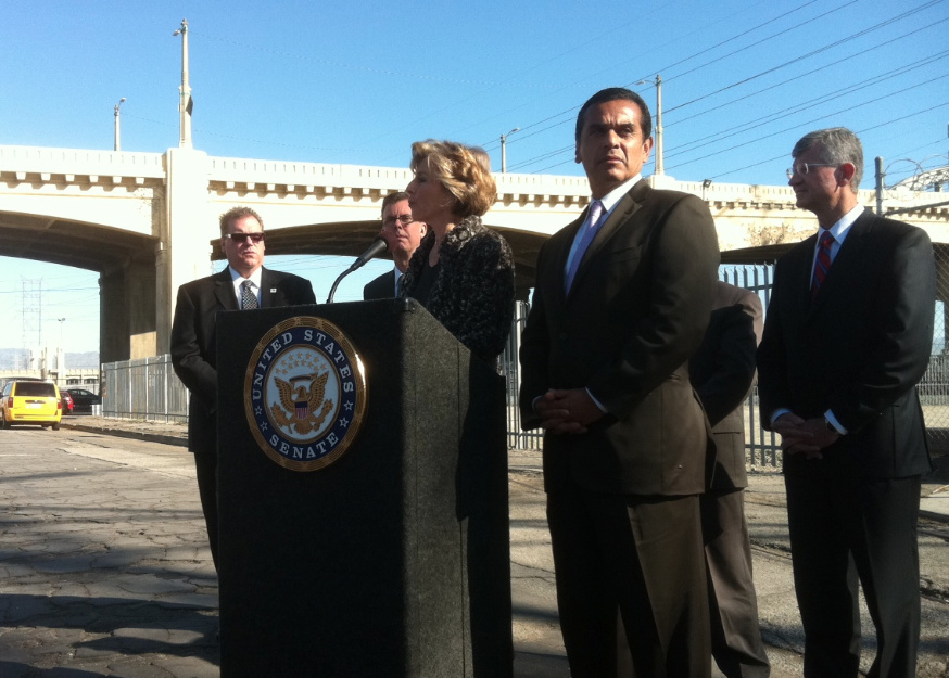 U.S. Senator Barbara Boxer and Los Angeles Mayor Antonio Villaraigosa held a news conference today near the 6th Street Viaduct in L.A. The leaders pushed for more federal spending on aging infrastructure.