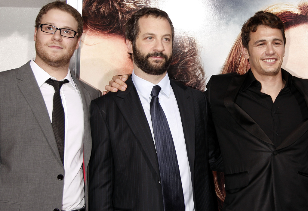 (L-R) Actor-writer Seth Rogen, producer Judd Apatow and actor James Franco at the premiere of