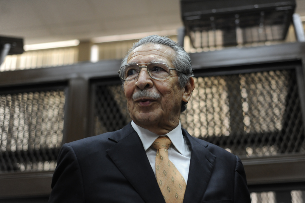 Former Guatemalan de facto President (1982-1983) and retired General Jose Efrain Rios Montt sits during a court hearing in Guatemala City on January 31, 2013. A Guatemalan judge started the hearing to receive evidence for the open trial to Rios Montt on charges of genocide committed in indigenous populations during his de facto regime between 1982 and 1983.