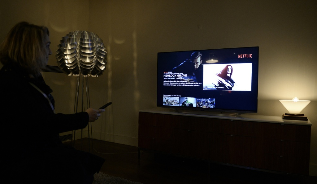 This photo shows a television screen displaying the French user interface of US online streaming giant Netflix, on September 15, 2014 in Paris.