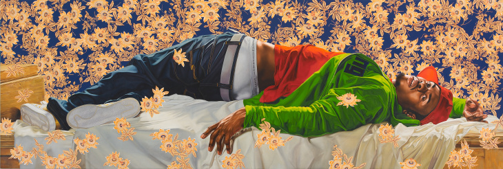 Artist Kehinde Wiley paints a portrait in his New York studio.