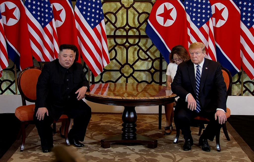 In this handout photo provided by Vietnam News Agency, U.S. President Donald Trump (R) and North Korean leader Kim Jong-un (L) during their second summit meeting at the Sofitel Legend Metropole hotel on February 28, 2019 in Hanoi, Vietnam