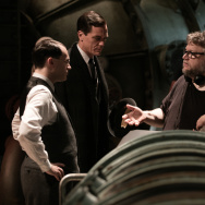 "(L-R) Michael Stuhlbarg, Michael Shannon, director/writer/producer Guillermo del Toro and David Hewlett on the set of ""The Shape of Water."""