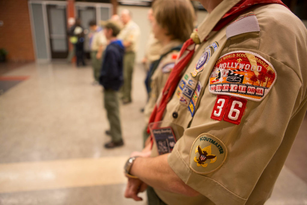 A badge on the arm of Troop 36 scoutmaster Larry Turner.