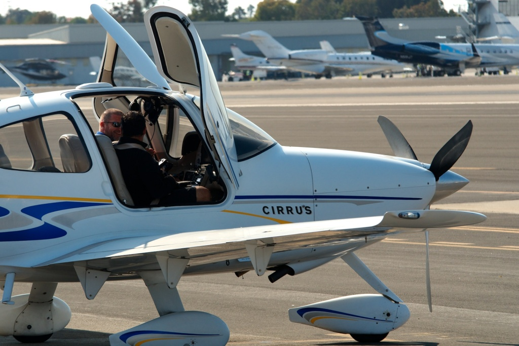 A pilot and flight student flew into Santa Monica Airport from San Diego.