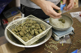 A worker at the San Francisco Medical Cannabis Clinic prepares packets of marijuana buds for sale in San Francisco, Monday, Oct. 19, 2009.