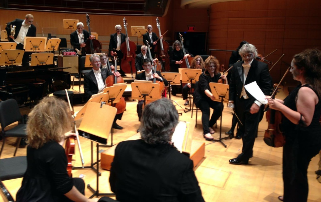 Pacific Symphony's orchestra rehearses