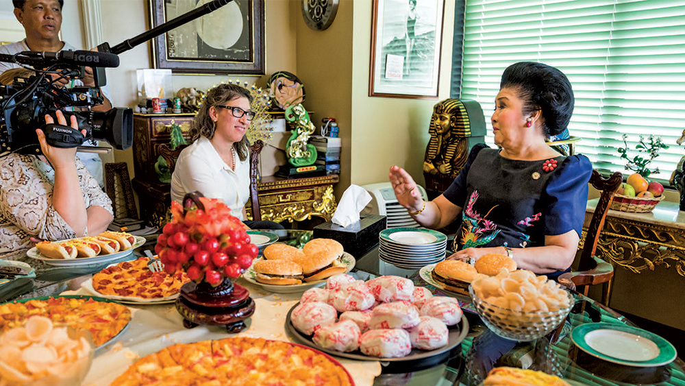 Lauren Greenfield interviews Imelda Marcos for the documentary,