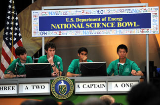 File photo: The Champions: (L-R) Bryce taylor, Christian johnson, Akhil jariwala and Patrick yang from Green High school in North Carolina listen to a question during the Energy Department's 20th Annual National Science Bowl on May 3, 2010 at the National Building in Washington, DC.