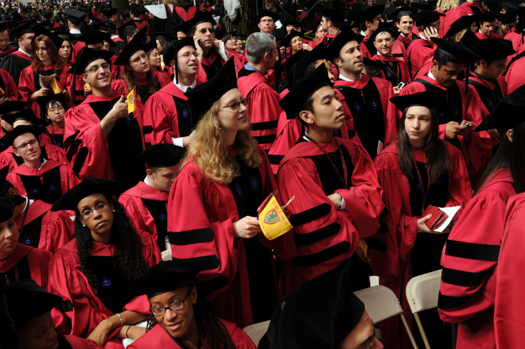 Harvard University students attend commencement ceremonies June 4, 2009 in Harvard Yard in Cambridge, Massachusetts.