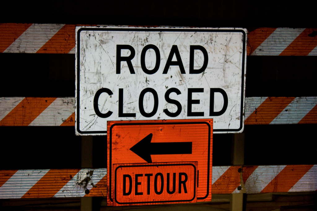 File photo of a road closed sign.