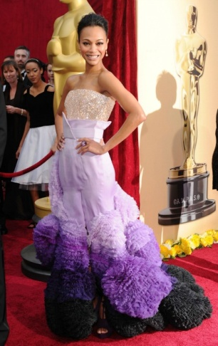 Actress Zoe Saldana at the 2010 Academy Awards