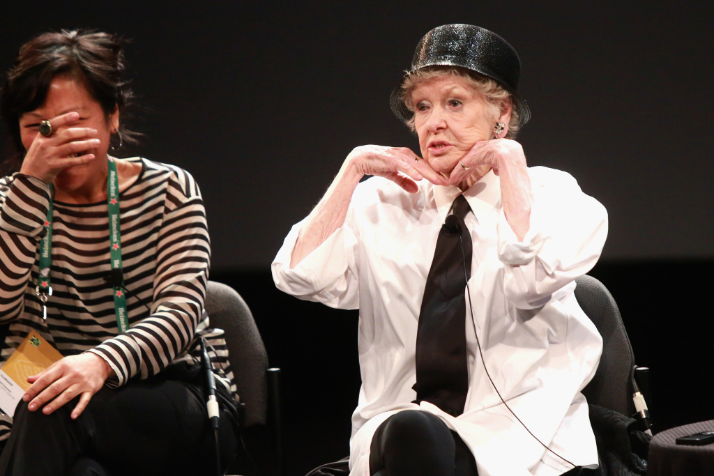 Director Chiemi Karasawa (L) and actress Elaine Stritch speak onstage at the Tribeca Talks After the Movie: